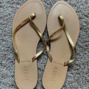 J Crew gold flip flops